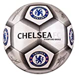 Chelsea FC Football Team Size 5 Player Signature Ball - Silver