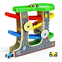 Symiu Click Clack Zig Zag Track Cars Garage Wooden Ramp Toys with Parking Lot 4 Wooden Mini Cars Vehicles Toy Gifts for Kids Boys Girls 3 4 5 Years Old