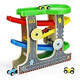 Symiu Kugelbahn Holz Autorennbahn Rennbahn Kinder Auto Spielzeug mit Parkplatz Geschenk für Kinder Junge Mädchen ab 3 4 5 6 Jahre (MEHRWEG)