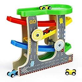 Symiu Pista Macchinine in Legno Rampe di Plastica Parcheggio Macchinine 4 Veicoli Gioco Percorso per Bambini 3 4 5