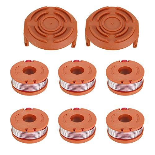 RanDal 6Pcs Grass Trimmer Spool Line Mit 2Pcs Spool Cap Cover For Worx Wg150S Wg152