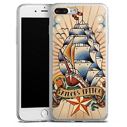 Apple iPhone 8 Slim Case Silikon Hülle Schutzhülle Schiff Anker Sterne Silikon Slim Case transparent