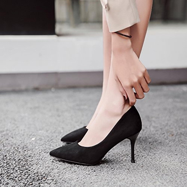FLYRCX Moda nero semplice semplice semplice tacco alto scarpe tacco fine suede singola calzatura donna eleganti scarpe da lavoro... | Aspetto piacevole  cbc7a7