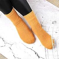 5 Par/Paquete Lindo Color Caramelo Suave Mujeres Mullidas Calcetines Invierno Cálido Hogar Interior Piso Niñas CalcetinesAmarillo