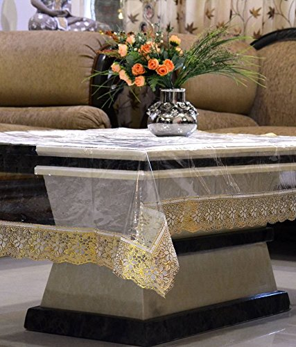 Kuber Industries™ Transparent Center Table Cover 4 Seater 40*60 Inches (Golden Lace)