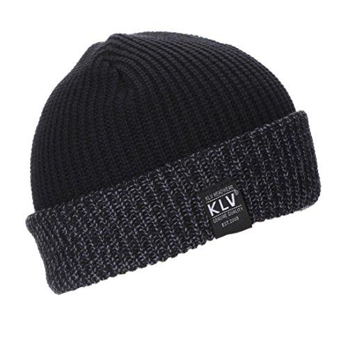 Muster Stricken-wolle-skull-cap (stricken Hut , Kobay Männer Frauen Baggy Warm Crochet Winter Wolle stricken Ski Beanie Skull Slouchy Caps Hut (46cm~66cm, Schwarz))