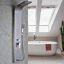 Pannello doccia a parete in nichel spazzolato un manico W/mano doccia e vasca beccuccio Multi