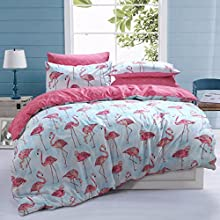 Sleepdown Flamingo Pink Stripe Reversible Duvet Cover Quilt Bedding Set Poly Cotton Easy Care Anti-Allergic Soft Smooth With Pillow Cases - King (220cm x 230cm)