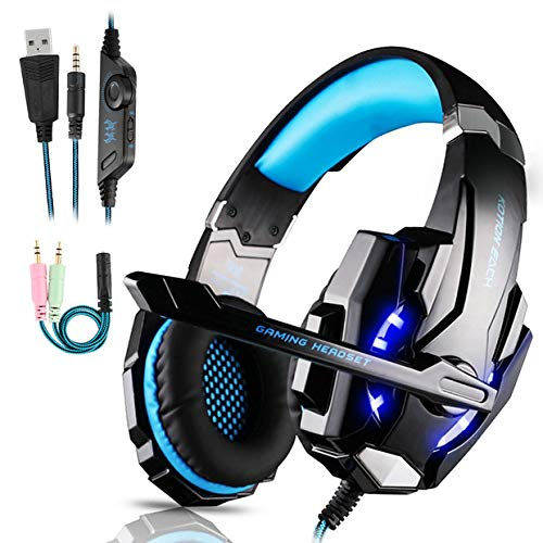 Igrome Gaming Headset mit Mikrofon, Stereo Bass Surround, LED Licht, Blau (Blaue Mikrofon Ios)