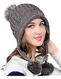 53cf3c5eaf1cf Urban GoCo Mujeres Sombreros de punto con Orejeras Invierno Calientes Gorro  con Pompón