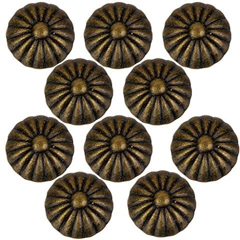 Gazechimp Lot de 10 Mini Poignée Bouton de Traction Rond Rétro pour Tiroir Porte - Laiton Antique