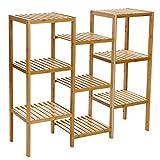 Songmics Standregal Badregal Blumenregal Bambus Küchenregal Bambusregal 96.5 x 90 x 32,5 cm bambusfarben BCB93Y