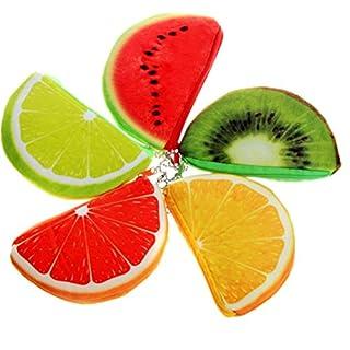 adiasen 5x Frauen Mädchen Kinder Junge Obst Wassermelone Orange Design Armatur für Bleistift Tasche Federmäppchen Pen Halter Bleistift Münzfach Tasche Phone Bag 14* 9CM