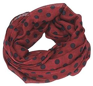Depesche 6394Loop Bufanda TOPModel, Color Rojo Oscuro con Lunares