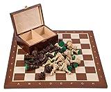 Pro Schach Set Nr. 6 SQUARE - Mahagoni - Schachbrett + Schachfiguren Staunton 6 + Kasten - Schachspiel aus Holz