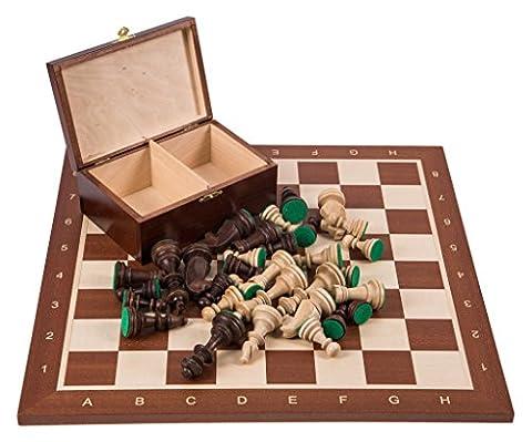 Pro Wooden Chess Set No. 6 - SQUARE Mahogany - Chessboard & Chess Pieces Staunton 6