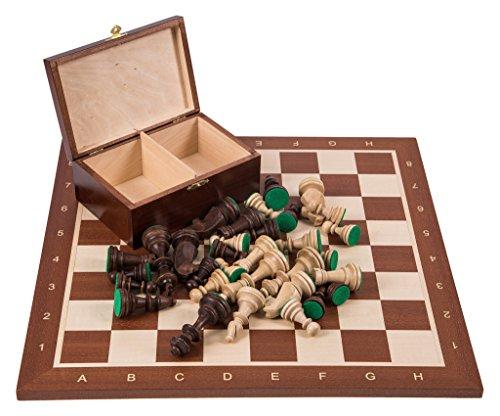 Professional Wooden Chess No. 6 SQUARE - Mahogany - Chessboard + Figures - Staunton 6