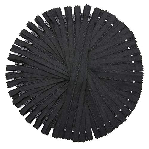 GIlH 50Pcs 9 Inch Black Nylon Coil Zippers for Sewing Coats Jacket Zipper Black Molded Zippers Tools Kit