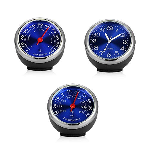Hamkaw Auto-Hygrometer, 3 Stück, Auto-Zubehör-Set fürs Armaturenbrett, Uhr, Armaturenbrett, Thermometer, Hygrometer, Autos, Belüftungsmechanismus, Quarzuhren mit Batterie