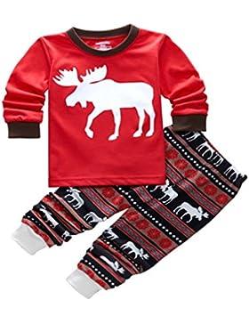 ISSHE Pijamas de Navidad Familia Pijamas Navideñas Adultos Pijama Familiares Manga Larga Hombre Mujer Niños Niña...