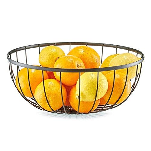 Fruits bol Métal Noir – Corbeille à pain – Corbeille en Métal – Ø 30,5 x 12 cm