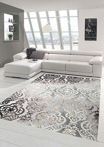 Designer Teppich Moderner Teppich Wollteppich Meliert Wohnzimmerteppich Wollteppich Ornament Grau Cream Taupe Größe 160x230 cm