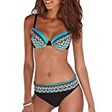 JFan Costume da Bagno Sexy da Donna Imbottito da Bagno Push Up Bikini Stampa Tribale Swimsuit (Blu, L (IT 44-46))