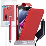 Sony Xperia Z1 Tasche Rot PU Leder Flip Hülle Mit Griffel Stift Und Auto Ladegerät