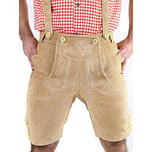 ALMBOCK kurze Lederhose Herren Tracht | Lederhose kurz Herren braun mit verstellbaren Hosenträgern | Lederhose kurz Tracht - Lederhose Herren kurz 46