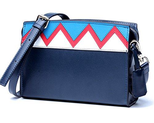 Xinmaoyuan Rosa Borse donna Spell-Color femmina geometrica Borsa diagonale ondulata con piccola borsa Picquan Tracolla blocco quadrato piccolo sacchetto di Zipper,Nero blu scuro