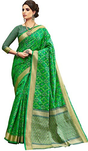 Ethnicjunction Silk Cotton Saree With Blouse Piece (Ej1172-10534B_Green_Free Size)