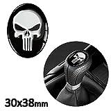 Skino 1 x Schalthebel Aufkleber Oval Schaltknauf Emblem 30 x 38mm Silikon Sticker Punisher Skull Schädel Totenkopf Auto Moto Zubehör Tuning JDM S 30