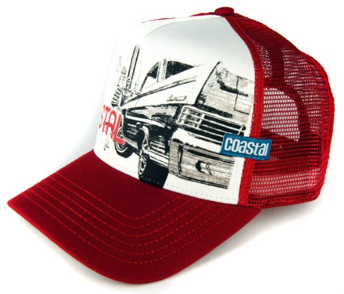 COASTAL - Surf & Cars & Chicks (deep red) - High Fitted Trucker Cap