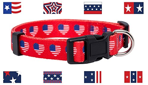 Native Pup American Flagge Hund Collar- 16 Patterns- 4. Juli Hund Collar-Small, Medium, Large, Large, Herzen