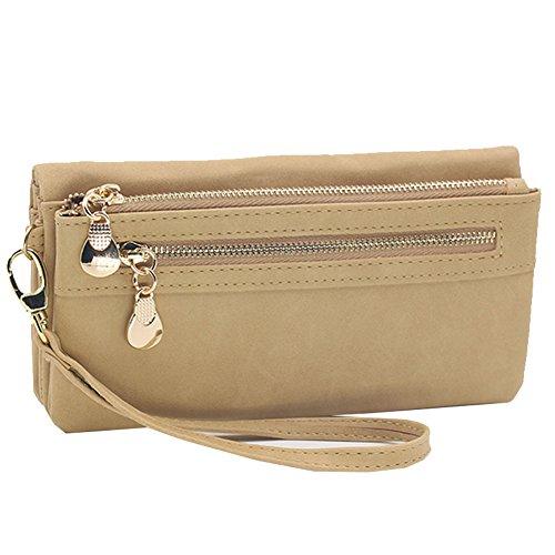 Woky Vintage Lang Portemonnaie Frauen PU Leder Groß Geldbörsen Damen Geldbeutel mit RFID Schutz Portmonee Geldtasche mit Reißverschluss