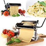 Babz 3 in 1 Heavy Duty Stainless Steel Professional Fresh Pasta Lasagne Spaghetti Tagliatelle Maker Machine Cutter with 3 Cut Press Blade Settings with Table Top Clamp Kitchen Set (Silver)