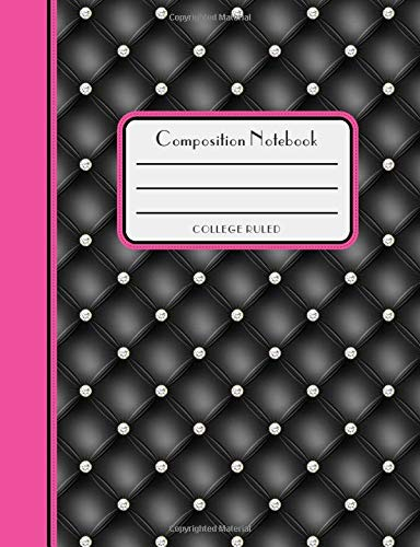 Composition Notebook: Black & Pink Diamond Tufted  Graphic Print College Ruled Composition Book, Notebook, or Journal for Students or Teachers (Diamond Co Girls)