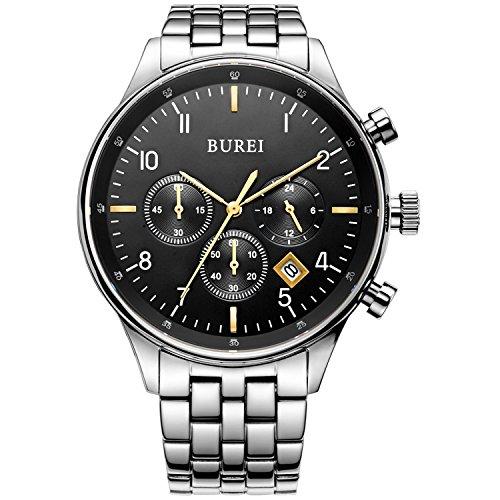 BUREI® Herren Uhren Chronograph Casual Quarz - Uhr Edelstahl Armbanduhr Analog Wasserdicht Uhr