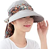 Kuyou Sommer Strand Hat Damen Outdoor Sport Hut Anti-UV Sonnenhut (Grau)