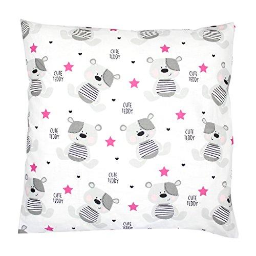 TupTam Kissenhülle Dekorativ Gemustert Dekokissen Baumwolle, Farbe: Teddybärchen Rosa, Größe: 80x80 cm (Kopfkissenbezug Mädchen)