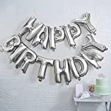 Pindia Silver Happy Birthday Foil Balloon Banner 13 Alphabets Silver Color for Birthday Decoration