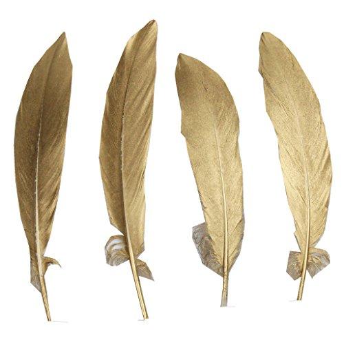 ERGEOB 50 stück DIY Hochzeit federn basteln Federn Gans federn großen Zierfedern 15-20cm ein Seite Gold (Schwarze Und Weiße Feder Maske)