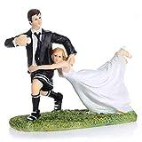 Uteruik Figurine de Rugby Amusante pour gâteau de Mariage en résine Décoration de fête