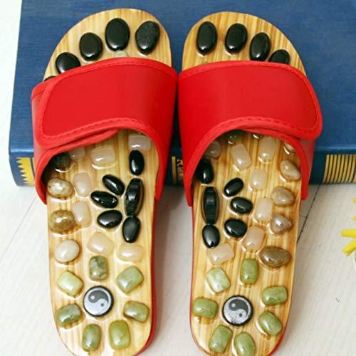 BUDAOWENG Fußmassage Slipper/Pebbles Slipper/Akupunkturpunkte/Gesundheitspflege Massage Slipper/Gesundheit Fußpantoffeln/Relief Plantar Fasciitis/Pantoffeln Herren für Frauen,Red,37