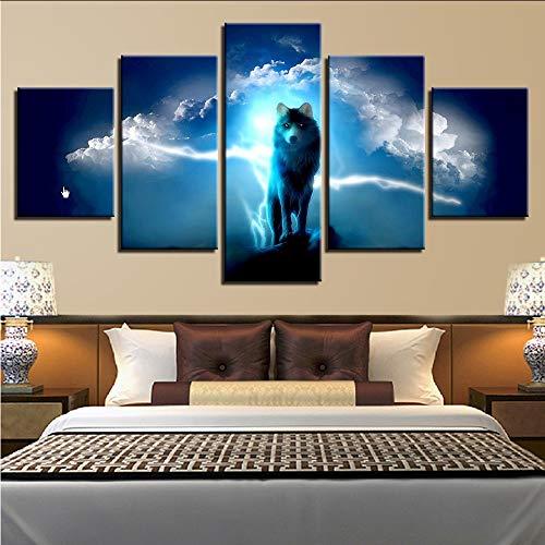 Wuwenw Modulare Leinwand Malerei Hd Drucke Dekoration Nacht Hintergrund 5 Stücke Wandkunst Tier Wolf Bilder Kunstwerk Plakatrahmen, 4X6 / 8/10 Zoll, Mit Rahmen