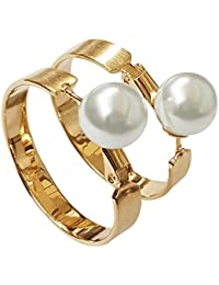 Spargz New Trendy Party Gold Plated Pearl Big Hoop Earrings For Women AIER 848