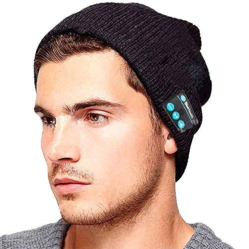 Shallgood Unisex Damen Herren Beanie Universal Mit Bluetooth Stereo Kopfhörer Headset Musik Mütze Winter Strickmütze Wireless Smart Kappe A-Dunkelgrau One Size (Beanie Mit Pom Galaxy)
