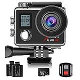 Campark Action Kamera WIFI Dual LCD Bildschirm 4K Sport Action Cam 16MP Ultra HD Helmkamera Wasserdicht 30M 170 ° Weitwinkel mit Handgelenk Fernbedienung 2 Verbesserten Batterien und 32GB Micro SD Karte