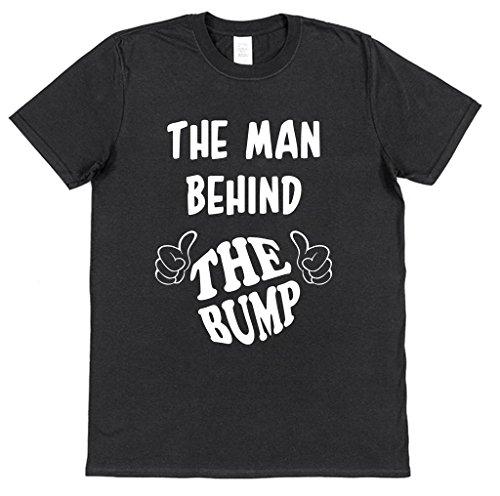 Click My Clobber, Mens, T-Shirt, The Man Behind The Bump Pregnancy Announcement New Dad, Black, L