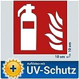 5x Feuerlöscher Aufkleber Sticker, Brandschutzzeichen Schild mit UV-Schutz, Aussenklebend, Hinweis Piktogramm Symbol Feuerlöscherkasten für Haus, Büro, Baustelle und Auto